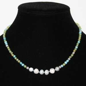 NwoT Blue and green natural pearl necklace 16""